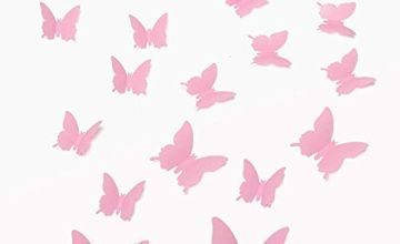 Walplus Pink 3D Butterfly  Wall Stickers 12-Piece Removable Self-Adhesive Mural Art Decals Vinyl Home Decoration DIY Living Bedroom Office Décor Wallpaper Kids Room Gift, Pink