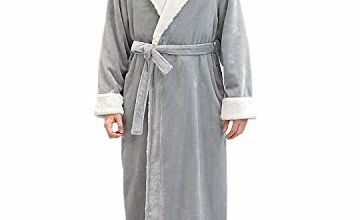 ZFSOCK Mens Long Dressing Gown Nightwear Fluffy Soft Bathrob