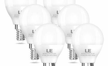 LE E14 LED Golf Ball Light Bulbs, P45, 25W Incandescent Bulb Equivalent, 3W, 250lm, Warm White 2700K, SES Small Edison Screw LED Bulbs, Pack of 6