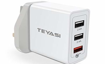 TEYASI USB Charger Plug, 30W 6A QC 3.0 Wall Charge/Fast Adaptive Mains UK Quick Charging for Samsung S10 S9 S8 S7 S6 A40 A50 A70,Huawei P30,P20 P10,Xiaomi,Motorola,LG,HTC,OnePlus,Phone etc (White)