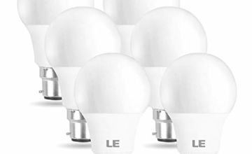 LE LED Light Bulbs Bayonet B22, 60W Incandescent Bulb Equivalent, 8W 806LM B22 LED Bulbs, 2700K Warm White, BC GLS Energy Saving Lightbulbs, Non-dimmable, Pack of 6