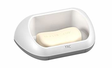 YXC Soap Dish Holder Wall Mounted Plastic Shower Soap Storage Tray With Drainage for Bathroom Kitchen