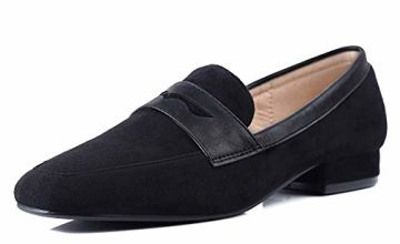 Sydowey Leather Loafers Women Low Heel Shoes Suede Loafers F