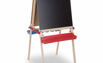 Melissa & Doug Deluxe Wooden Standing Art Easel (Arts & Crafts, Chalkboard, Dry-Erase Board, 119cm H × 69cm W × 66cm L , Great Gift for Girls and Boys - Best for 3, 4, 5 Year Olds and Up)