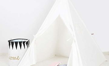 BLITSR TEEPEE PLAY TENT - Indoor-Outdoor Use WigWam - Natural Cotton Canvas and Wood - 120 x 120 x 150 cm - Playhouse with Windows -
