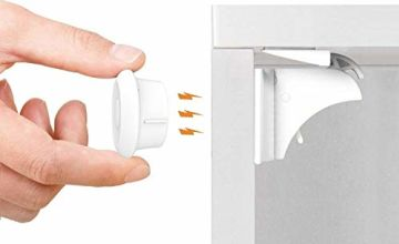 Baby Safety Magnetic Cupboard Locks - 10 Pack Child Proof Cupboard Catches and Locks, No Screws or Drilling, Easy Install in Seconds, Latest Design to Protect Your Kids and Toddlers - Norjews
