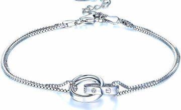 F.ZENI Double Chain Circle Bracelet 925 Sterling Silver Charm Bracelet Interlocking Infinity Bracelets for Women Anniversary Birthday Jewellery Gift