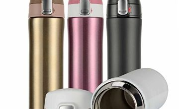 Hiwill Insulated Travel Coffee Mug, Double Walled Vacuum Stainless Steel Sports Water Bottle, Drink Flask