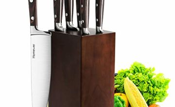 Kitchen Knife Set with Block, Homever Knife Block Set 6 Pieces , Professional chef Knife Set with Ergonomic Soild Handle and Full Tang Design, Stainless Steel Knives, Wooden Block Knife Holder
