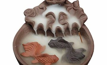 Fish Waterfall Backflow Incense Burner with 10pcs Backflow Incense Cone, Home Ceramic Backflow Incense Cone Holder Burner (Style 3)