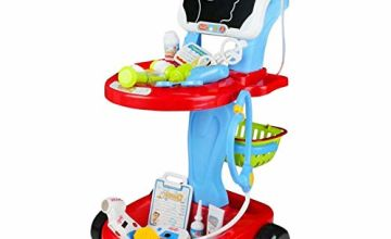 Fajiabao Doctors Set Cart for Children Pretend Role Play Doctor Nurse Kids Medical Set Kit 24 Pieces Accessories Educational Learning Toy for Boys and Girls 3 4 5 6 years old