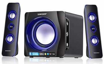 Sumvision Ncube Pro 2 LED Bluetooth Enhanced Data Rate Designer Stereo Multimedia Wireless Speaker 2.1 with Bass Boost Subwoofer for PC Gaming Laptops Android iPhones iPads iMac