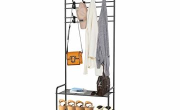 alvorog Entryway Coat Rack Shoe Bench, 3-in-1 Hall Tree, 3-Tier Storage Shelves with 16 Hooks Multifunctional Hallway Organizer, Easy Assembly