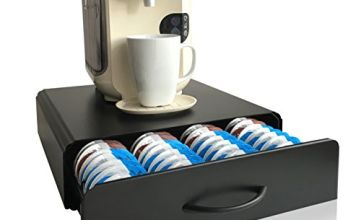 Tassimo Pods Holder   64pcs   CAFE CONCETTO   T-Disc Coffee Capsules   Stand & Pod Storage Drawer   Anti-Vibration Design (Metal/Black)