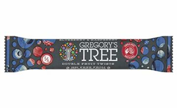 Gregory's Tree Organic Blueberry and Raspberry Double Twist Bar, 18 g, Pack of 24