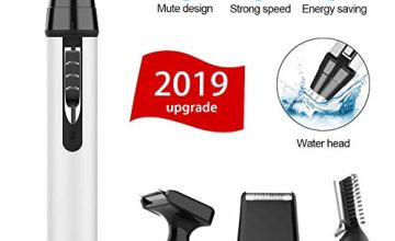 Cleanfly Nose Ear Hair Trimmer, Man Beard Rechargeable Woman Eyebrow Trimmer 4 in 1 Waterproof Vacuum Cleaning Dual-edge Spinning Blades System Cuts Safely Without any Pain