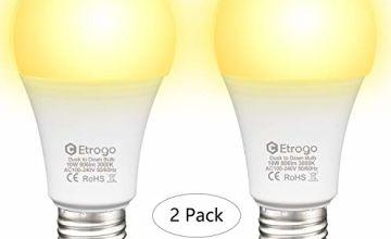 Dusk Till Dawn LED Bulb, E27 Sensor Light BulbAuto On/Off 270°Beam Angle for Garage Porch Yard Patio Hallways (2 Pack)
