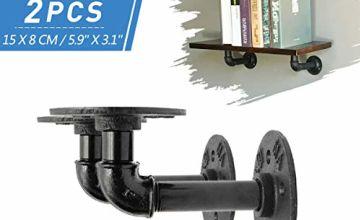 KING DO WAY 2Pcs Pipe Shelf Brackets Industrial Shelf Bracket for Bookshelf Floating Shelves Plumbing Pipe Shelf for Scaffold Board 5.9'' X 3.15'' (15 X 8 cm)