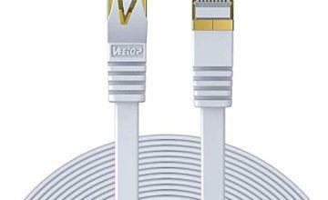 Veetop 30m Cable Ethernet Rj45 Plat Cat 7 Câble De Réseau 10 Gigabit/s Blanc