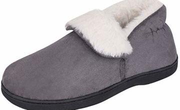 Snug Leaves Women's Comfy Suede Memory Foam Slippers Warm Pl