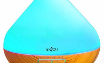 Anjou Essential Oils Diffuser, 300ml Aromatherapy Diffusers Ultrasonic Aroma Humidifier with Cool Mist Waterless Auto Shut-Off, 4 Timer Settings, 7 Color LED Lights