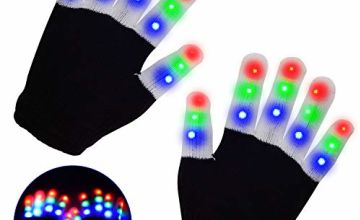 LED Gloves, Light Up Hand Gloves, Flashing Fingers Colourful Rave Gloves 6 Modes Glow for Festivals/ Halloween/ Christmas/ Bonfire Night/ Party/ Games/ Running/ Sports/Gift, Small Size Kids(5-10 yrs) …