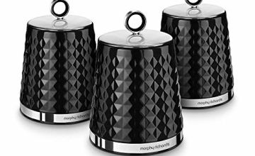 Save on Morphy Richards Dimensions Set of 3 Round Kitchen Storage Canisters, Black and more
