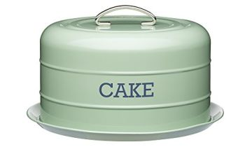 KitchenCraft Living Nostalgia Airtight Cake Storage Tin/Cake Dome, 28.5 x 18 cm, English Sage Green