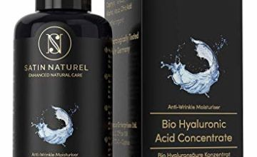 ORGANIC Hyaluronic Acid Face Serum High-Dosed Concentrate - 100ml Glass Bottle is 3x LARGER than Others - Vegan Anti-Aging Gel with Aloe Vera - Satin Naturel Skincare MADE IN GERMANY