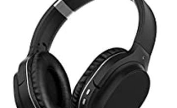 Noise Cancelling Headphones Bluetooth Headphones with Microphone Deep Bass Wireless Headphones Over Ear, Comfortable Protein Earpads, Support TF Card, 30 Hours Playtime for Travel/Work/Airplane
