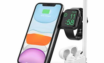 TEMINICE 4 in 1 Wireless Charger, Apple Watch & AirPods & Pencil Charging Dock Station, Nightstand Mode for iWatch Series 5/4/3/2/1, Fast Charging for iPhone 11/11 Pro Max/XR/XS Max/Xs/X/8/8P