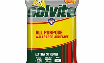 Solvite All-Purpose Wallpaper Adhesive, Reliable Adhesive for Wallpaper, All-Purpose Adhesive with Long-Lasting Results, Wallpaper Paste hangs up to 10 Rolls (1x185g Sachet)