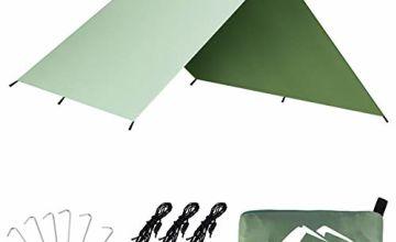 BFULL Camping Tarp Shelter Waterproof Lightweight & Portable Hammock Rain Fly Tent Tarp Picnic Blanket for Outdoors 3m x 3m