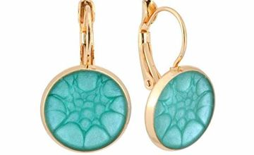 Classic Turquoise Gold Drop Earrings In a Gift Box Women; Beautiful Light Blue Jewellery for Birthday; Design Shape 2.8x1.4cm - 1.1x0.55inch