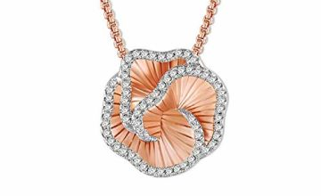 SNZM Flower Pendant Necklace Rose Gold Charming Necklace with Dazzling Crystal Jewelry Gift for Women