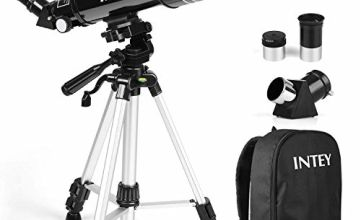 INTEY Telescope- 400mm Focus Length and 70mm Aperture, 2 Eye Pieces Telescope with Adjustable Tripod & Rotatable Lens, Flexible Operation for Beginners and Teenagers