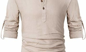 Leisurely Pace Men Henley Neck Roll Up Solid Long Sleeve Lin