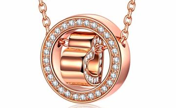 Kami Idea Necklace, Gift for Mum, Love Confession, Rose Gold/Silver, Circle and Heart Pendant, Crystal from Swarovski, Jewellery Box