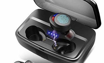 Wireless Headphones Bluetooth Earphones IPX8 Waterproof Deep Bass Stereo Sound Earphones with Microphones 100H Playtime Noise-Cancelling Earbuds with Charging Case