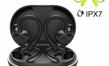 HolyHigh Wireless Earbuds Sports Wireless Headphones Waterproof IPX7 Bluetooth 5.0 6 + 30H Enhanced Playtime Auto On/Off/Pairing Bluetooth Headphones Over Ear Hi-Fi Stereo for Gym Fitness