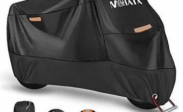 MOSFiATA Waterproof Motorcycle Cover, 210D Thickned Oxford Cloth with Lock Holes, for Honda, Yamaha, Suzuki, Kawasaki, 96.46 × 41.34 × 49.21 inch