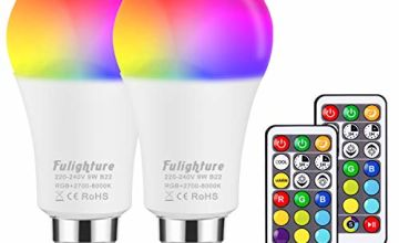 Colour Changing Light Bulbs, RGB Colours + Warm +Cool White, Mood Lighting with Remote Control, A60 B22 Bayonet LED Dimmable Colour Bulbs, Night Light with Dual Memory Timing Function, Pack of 2