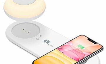 LED Night Light, Smart Touch Bedside Table Lamp with Fast Wireless Charging Pad, Separate Magnetic Portable Lamp, Rechargeable Dimmable Light for Kids, Bedroom, Camping