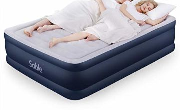 Inflatable Air Bed Sable Queen Size Airbed, Air Mattress Upgraded Blow up Bed with Built-in Electric Pump Storage Bag 203 x152 x 51cm, Blue