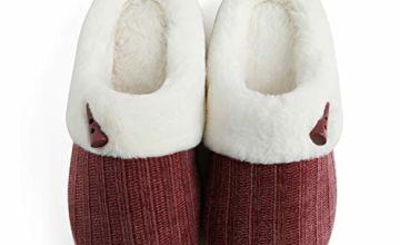 DRSLPAR Women's Slip on Fuzzy Slippers Memory Foam Indoor Outdoor House Slippers Fur Lined