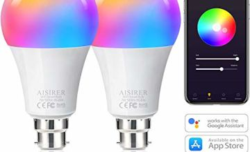 WiFi Smart Bulb Alexa Light Bulbs B22 Bayonet Colour Dimmable, No Hub Required, Works with Alexa, Google Home, 7W Equivalent 60W, 2700K, AISIRER Smart Light Bulb