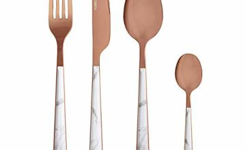 Save on Tower 16 Piece Cutlery Set, Elegant and High Quality Stainless Steel, White Marble and Rose Gold and more