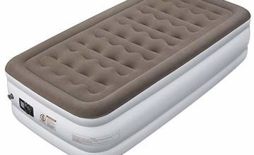ETEKCITY Air Bed Twin Size Single Inflatable Air Mattress With Built-in Pump, Comfortable and Soft flocking Guest Beds, Blow Up Elevated Raised Airbed, Storage bag and repair patches included