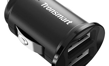 Car charger,Tronsmart C24 24W 4.8A Dual USB Ports Flush Fit Car adapter Fast Charging Cigarette lighter usb charger,Smart Mini usb cigarette adapter Compatible with all ios and android devices - Black
