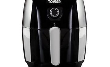 Tower Air Fryer with Rapid Air Circulation System, VORTX Frying Technology, 30 Minute Timer and Adjustable Temperature Control for Healthy Oil Free or Low Fat Cooking, 1000 W, 1.5 Litre, Black